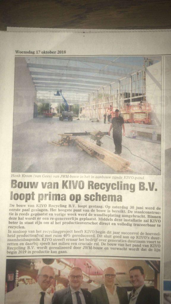 Bouwbedrijf Aannemingsbedrijf JWM Bouw kranten artikel Kivo