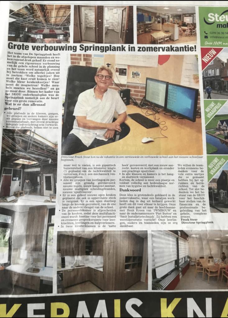 Bouwbedrijf Aannemingsbedrijf JWM Bouw Springplank krantenartikel